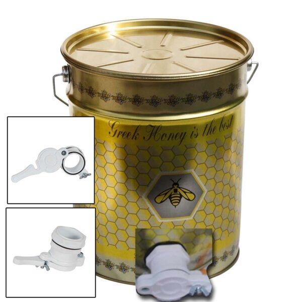 Δοχείο Μελιού με Καπάκι Τσέρκι & Κάνουλα 28 kgr Apimax 4490