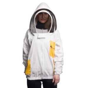 Unisex Μελισσοκομικό Μπουφάν με Μάσκα Αστροναύτη Apimax Λευκό-Κίτρινο 3924