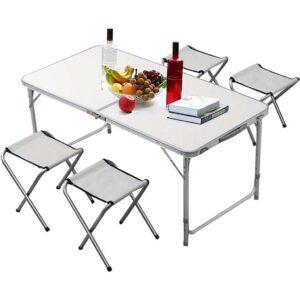 Σετ Τραπέζι Ρυθμιζόμενο σε Ύψος με 4 Σκαμπό Αλουμινίου / Πτυσσόμενο Βαλίτσα BORMANN BGS1000 026808